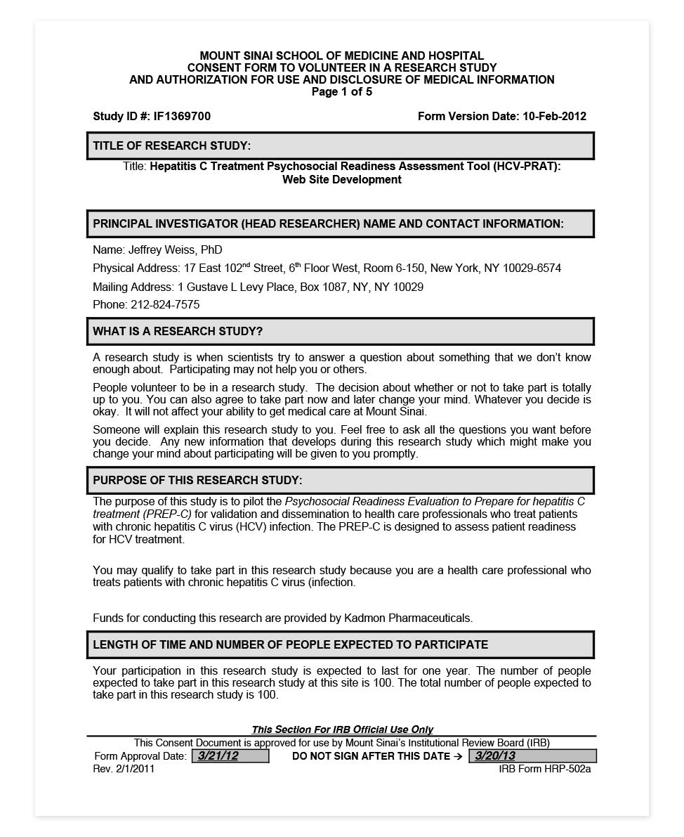 Providers – Informed Consent Form
